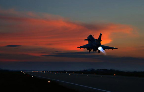 China's J-10 jets practice night flight