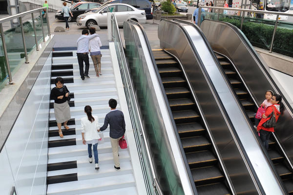 Piano-style stairs in Hangzhou