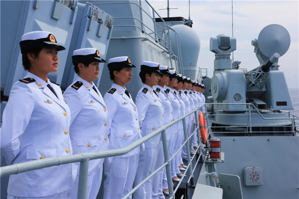 Chinese female sailors at China-Russia sea drills