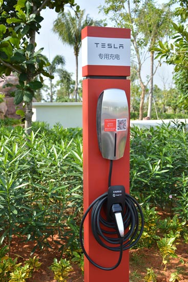 Sanya resort unveils Tesla charging stations