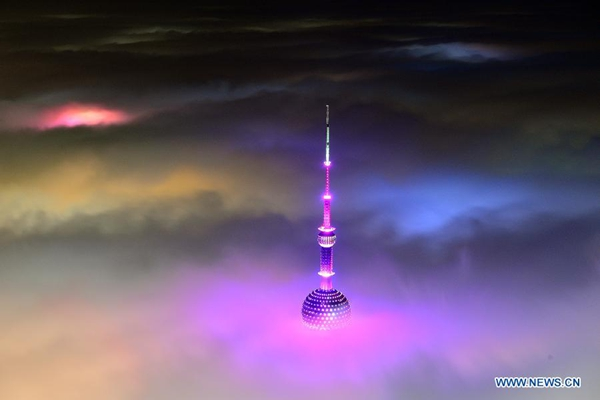 Magnificent scene: buildings amid heavy fog in Shanghai