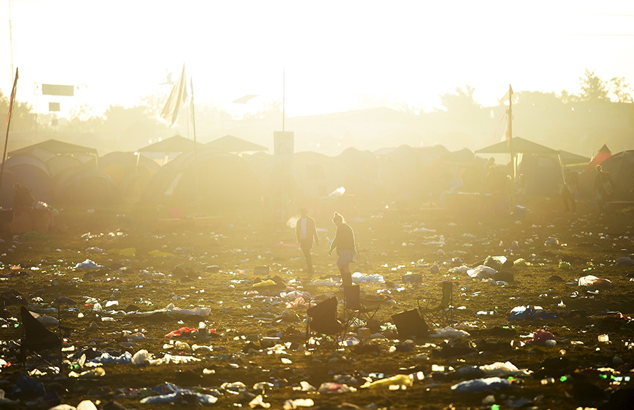 Not so glamorous: Glastonbury ends with sea of rubbish