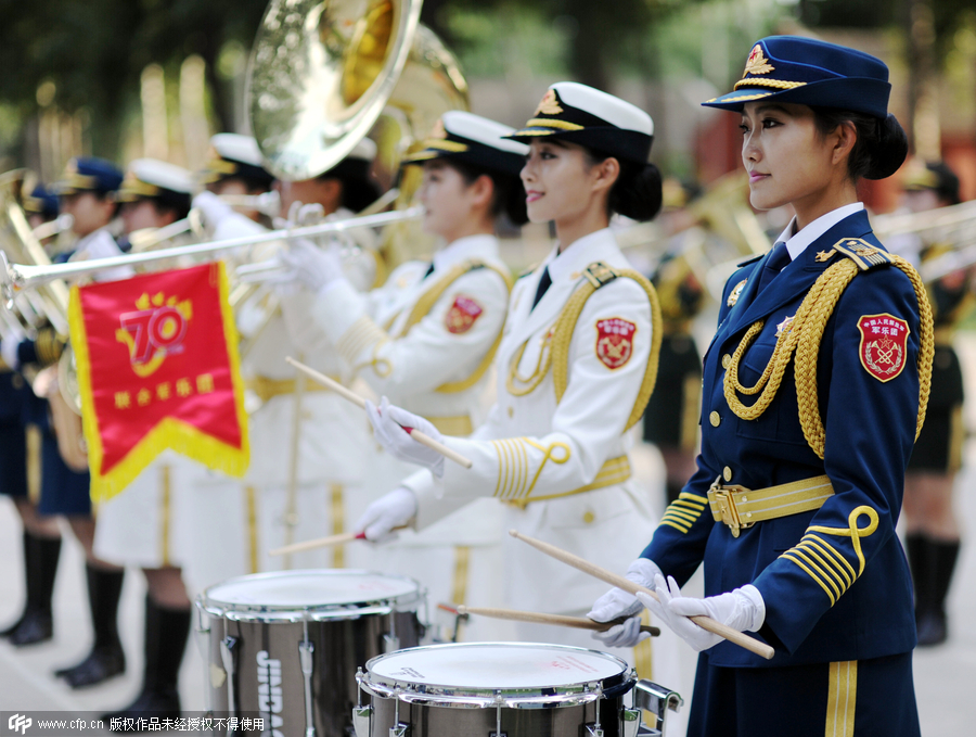 Female soldiers of military band practice for the V-Day parade