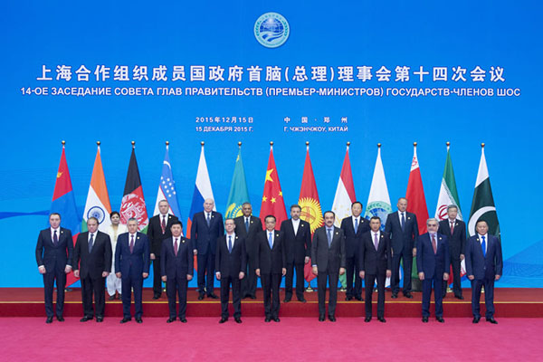 Leaders pose for group photo at SCO meeting