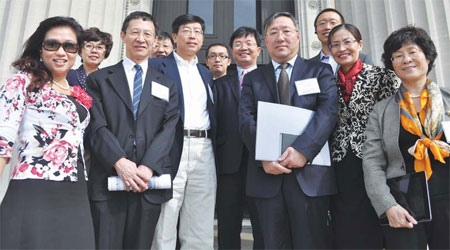 Chinese entrepreneur parades with peers