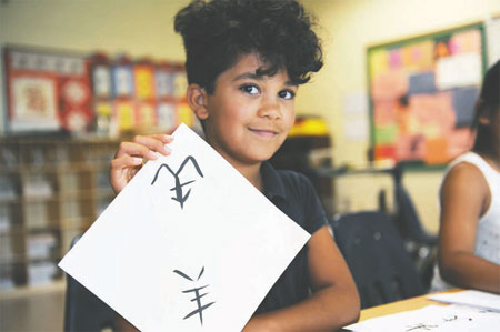 Calligraphy aids language learning