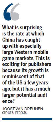 China's mobile gaming market to top US and be No 1
