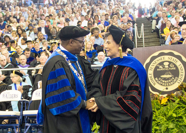 Xu Lin is honored at MTSU graduation ceremony