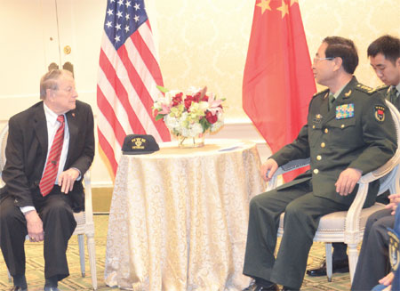 China's top brass visits US military