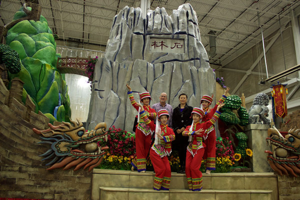 Kunming's parade float: set in stone