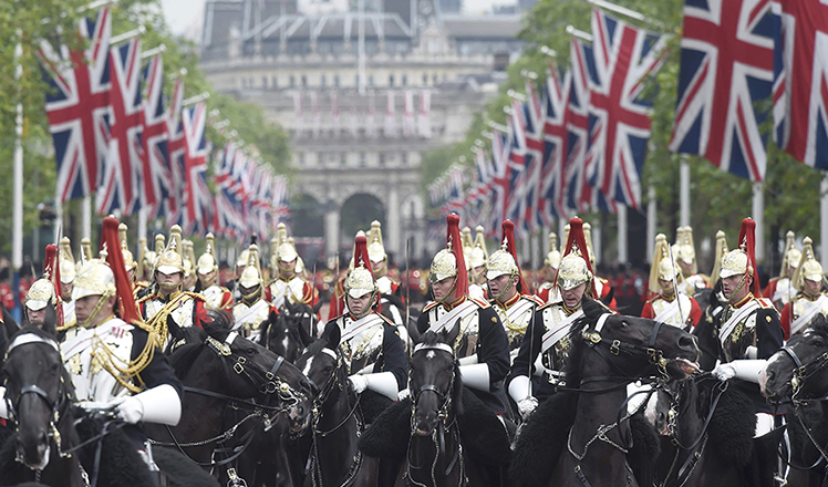 British pageantry on parade for Queen's official birthday