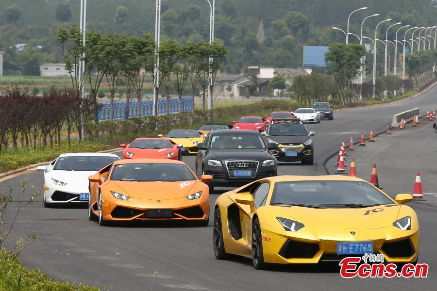 High End Sports Cars Rally In Ancient Town