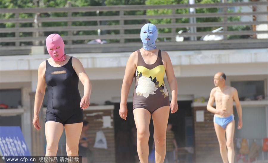 'Face-Bikini' swimwear trend sweeps East China[3]| Slides
