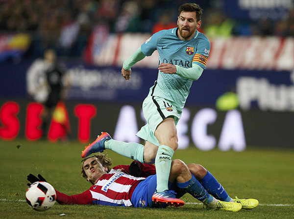 Image result for messi and griezmann action