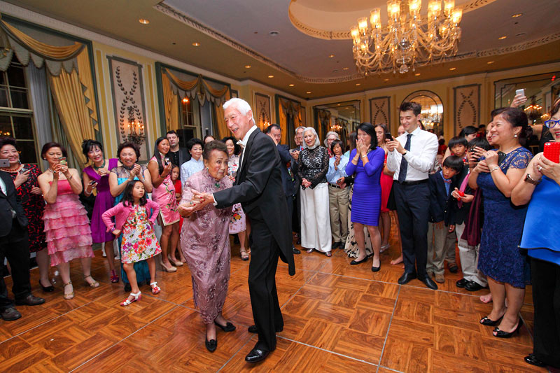 Juliana Young Koo dancing at her 109th birthday party