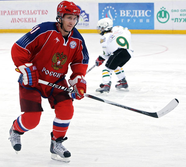 Putin Dons Hockey Skates In Fitness Stunt