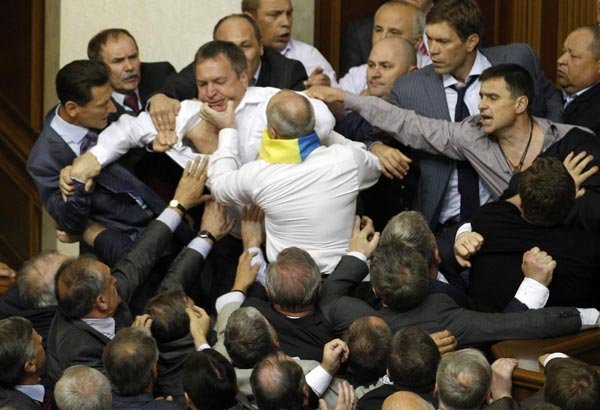 MPs brawl in Ukraine parliament chamber