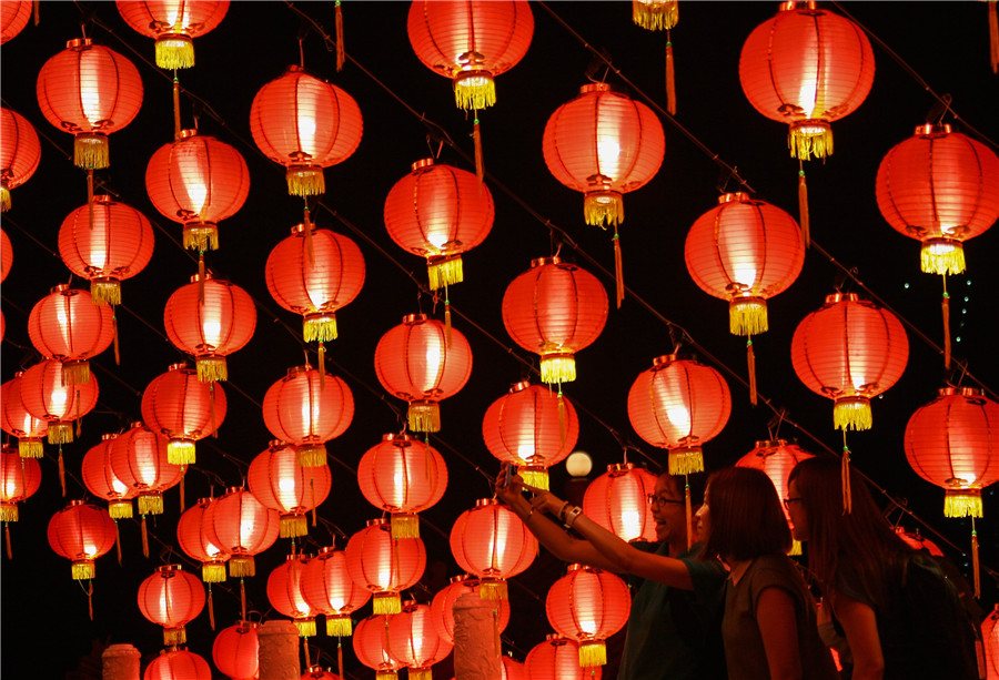 lanterns decorate temple to celebrate chinese new year in kuala lumpur - Chinese New Years