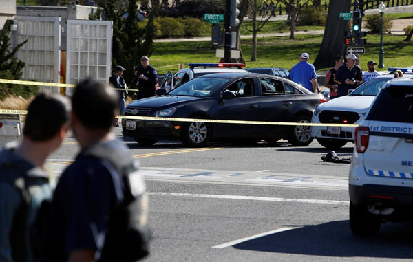 Image result for Woman hits a car, tries to run over officers near US Capitol,